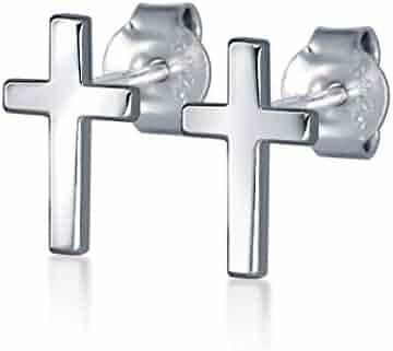 9b5c12866 HANFLY 925 Sterling Silver Cross Stud Earrings Fashion Earrings Cross  Earrings