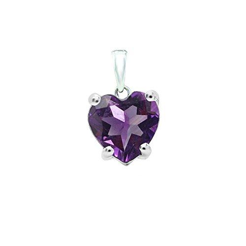 Dazzlingrock Collection 14K 6 MM Heart Cut Amethyst Ladies Heart Shaped Pendant, White Gold