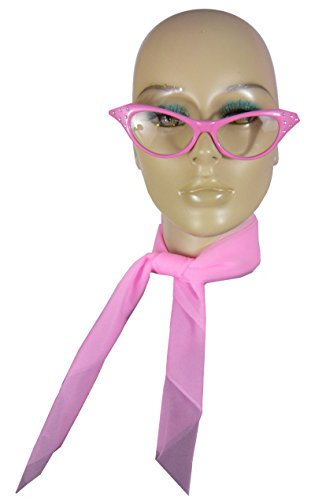 50P (Pink) 1950s Costume Kit (Fifties Cat Eye Rhinestone Glasses)