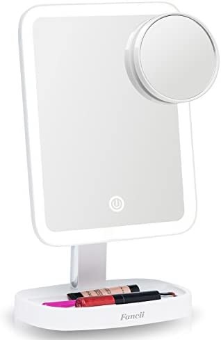 Fancii LED Makeup Vanity Mirror with 3 Light Setting and 15x Magnifying Mirror – Choose Between Soft Warm, Natural Daylight, or Neutral White Lights – Dimmable Countertop Cosmetic Mirror – Aura