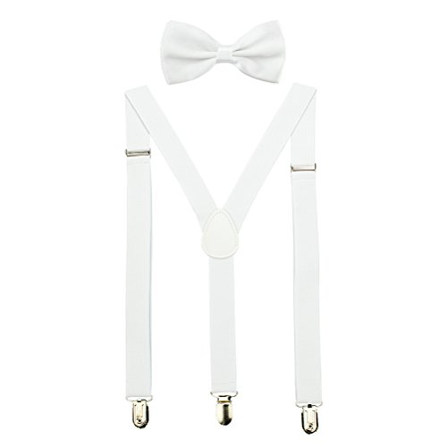 HABIBEE Solid Color Mens Suspender Bow Tie Set Clip On Y Shape Adjustable Braces (White) (Bow Set White Tie)