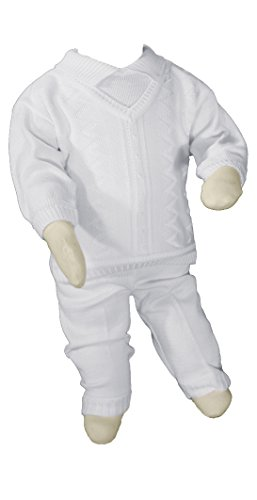 Boys 100% Cotton Knit Two Piece White Christening Baptism Outfit, 24 by Little Things Mean A Lot