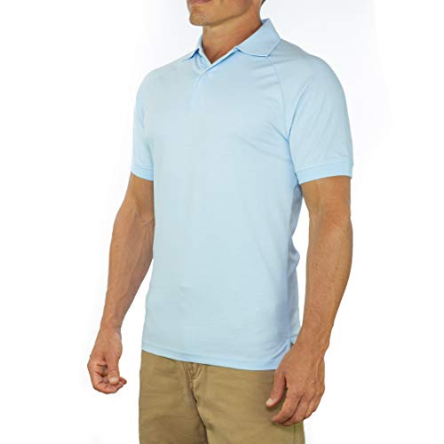 (Comfortably Collared Men's Perfect Slim Fit Short Sleeve Soft Fitted Polo Shirt, Large, Light Blue)