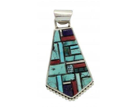 Edward Becenti, Pendant, Multi Stone Inlay, Sterling Silver, Navajo Handmade,2.5