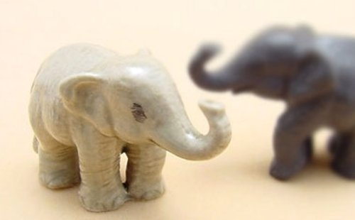 - ChangThai Design 3 D Ceramic Toy Baby Young Elephant Dollhouse Miniatures
