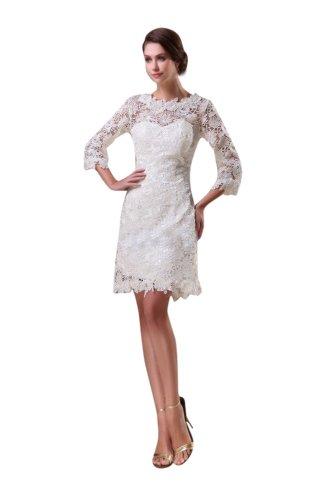 Miranda Women's Sweetheart Sleeve Short Lace Wedding Bridal Dress Size 14 Ivory - Miranda Ivory Prom Dress