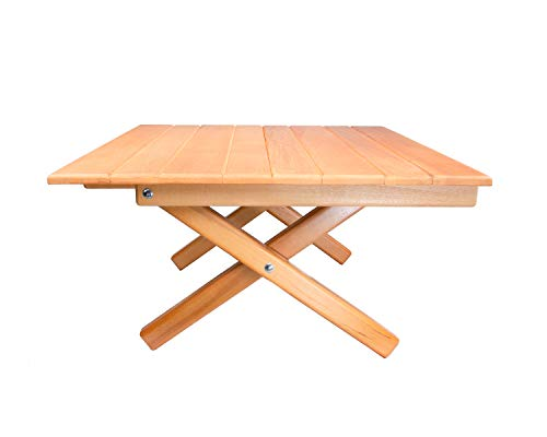 Simple Setup Short Table All-Purpose Use and Portability – Beach, Picnic, Camp, Or As A Gift – All Wood Strong Table Height 10