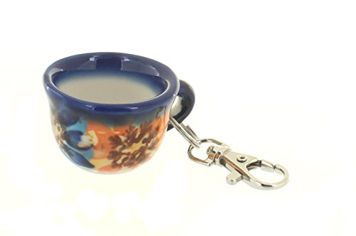 Blue Rose Polish Pottery Autumn Burst Key Chain