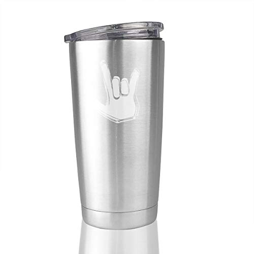 ASL I Love You Sign Language 20 Oz Stainless Steel Vacuum Insulated Tumbler Travel Mugs Unique Gifts