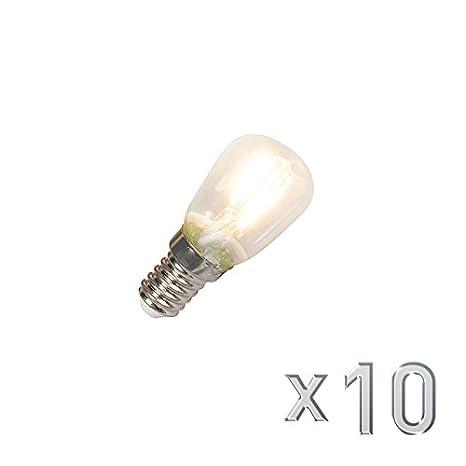 Calex Set de 10 bombillas pebetera LED filamento E14 240V 1W 100lm T26: Amazon.es: Iluminación