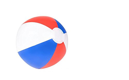 (24) 12'' PATRIOTIC Beach Balls ~ TWO Dozen RED WHITE & BLUE Beach Ball Inflates ~ Patriotic Beachballs ~ Pool Decor Beach Favor Water Play Fun Outdoor Birthday Fourth July Wedding Celebration ~ 4TH Independence Day