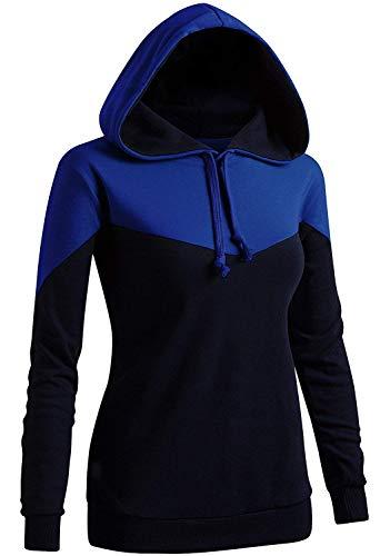 Women's Casual Sweatshirt Pullover Hoodie Long Sleeve Drawstring Sweater(Kwohol033_Cobalt US XL/Tag XL)