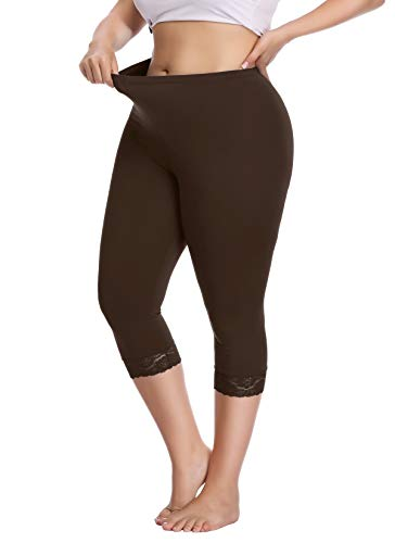 Women's Plus Size Capri Cropped Leggings Stretch Lace Trim Soft Tights Pants Coffee