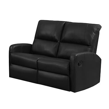 Monarch Specialties I 84BK-3 Reclining Sofa in Black Bonded Leather