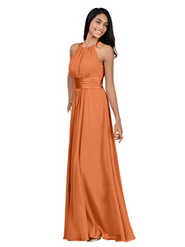 Alicepub Chiffon Petite Bridesmaid Dresses Long for Women Formal Evening Party Prom Gown Halter Petite, Burnt Orange, US6