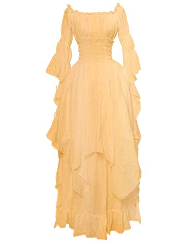 LY-VV Women Plus Size Off Shoulder Renaissance Medieval Dress Costume (4XL, Yellow)