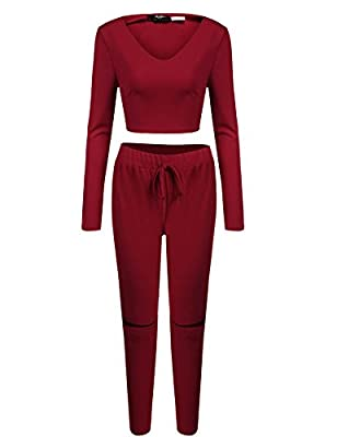 Zeagoo Women's Sport Bodycon Sexy Long Sleeve 2 Piece Outfit Jumpsuit
