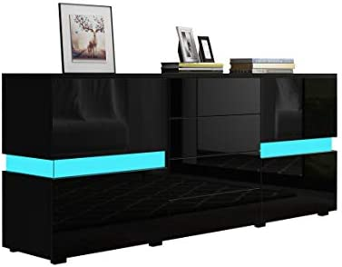 UNDRANDED Sideboard 2 Doors 4 Drawers in 177cm High Gloss Front Storage Cabinet Cupboard Buffet Dresser Table Wooden TV Stand Unit with RGB LED Light (Black)