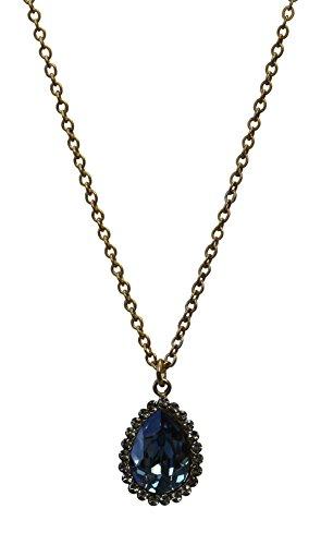 Catherine Popesco La Vie Parisienne Blue Swarovski Crystal Teardrop Necklace
