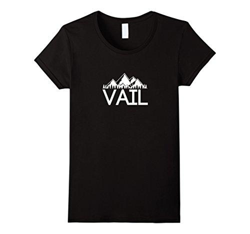 Womens Vintage Mountain Range   Vail  Colorado T Shirt Medium Black