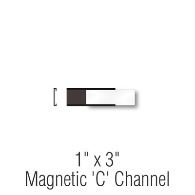 Magnetic ''C'' Channel Label Holders, 1''x3'' with Paper Inserts, 25 Holders/Pack