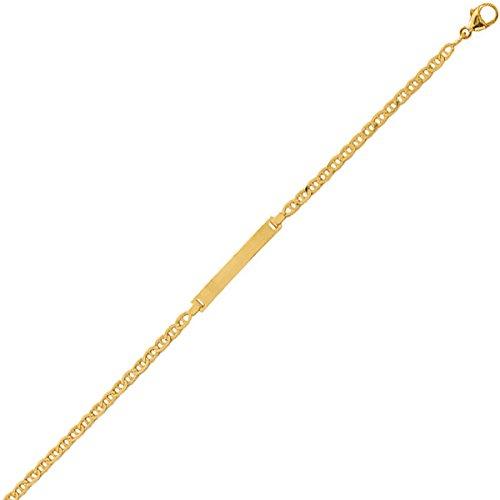 So Chic Bijoux © Bracelet Gourmette Identité Enfant 14 cm - Or Jaune 375/000 (9 carats) 1,80gr - Plaque Rectangle Maille Marine Battue - Personnalisable : Gravure offerte