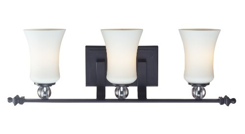 Z-Lite 604-3V Harmony Three Light Vanity Light with Steel and Crystal Frame, Matte Black Finish and White Shade of Glass Material - Harmony 3 Light Vanity
