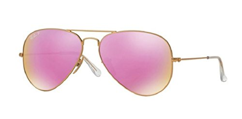 Ray Ban RB3025 112/1Q 58M Matte Gold/ Polarized Brown Fucsia Mirror - Ray Aviator Ban 58mm