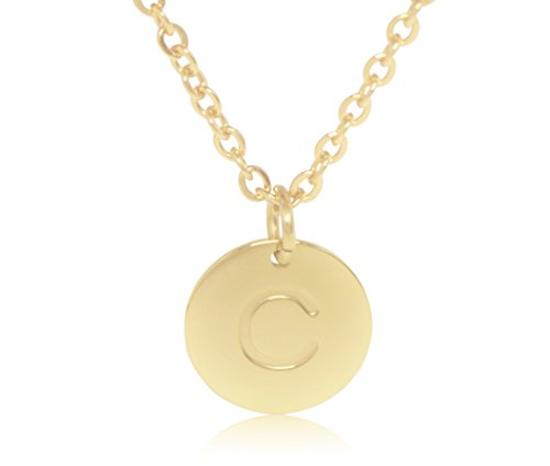 """(18K Gold-Plated Round Disc Engraved Initial Pendant 18"""" Adjustable Necklace with Personalized Alphabet Letter (C) )"""