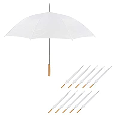 "Wedding Umbrella - Manual Open - 10 Pack - 35"" Umbrella - By Anderson Umbrella (White)"