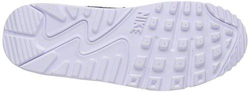 Nike Air Max 90 Premium - zapatillas de running de cuero mujer Black/White/Metallic Silver 005