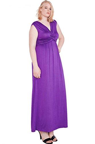 Women's Sleeveless Front Knot Comfy Stretch Maxi Draped Plus Dress USA Pur 3XL