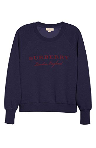 - BURBERRY TORTO Logo Embroidered Long Sleeves Sweatshirt in Navy