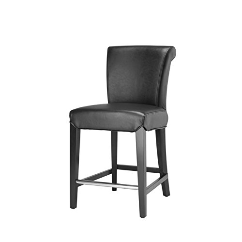 Safavieh Mercer Collection Seth Black Leather 25.9-inch Counter Stool