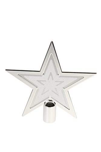 (Clever Creations Silver & White Star Christmas Tree Topper Festive Christmas Decor | Silver & White Shatter Resistant Plastic | 6.5