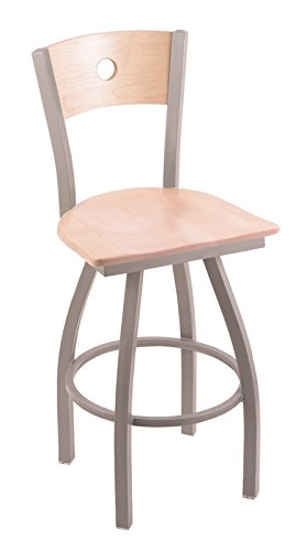 Holland Bar Stool Co. XL 830 Voltaire Anodized Nickel Swivel Tall Bar Stool with Natural Maple B Back, Natural Maple