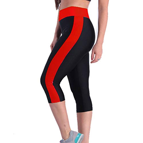 kemilove Workout Capri Leggings with Pockets for Women Stretchy Yoga Pants Gym Running Tights Red ()