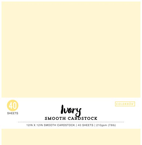 Colorbok 74224 12x12in Smooth Cardstock Ivory,