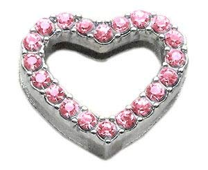 Mirage Pet Products Slider Heart Collar Charm, 3/4-Inch, Pink A-collar Crystal Heart 18mm Charm