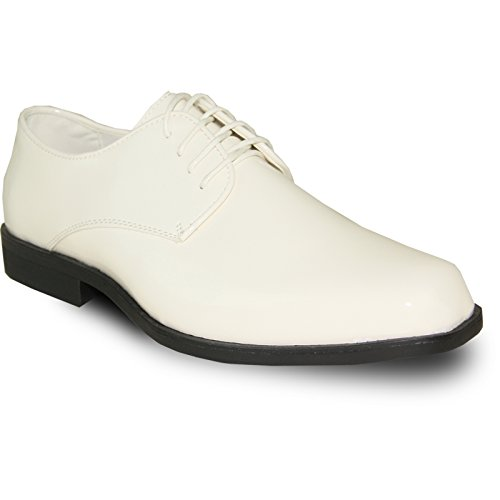 VANGELO Men Formal Tuxedo Dress Shoe for Wedding, Uniform and Prom Tux-1 Ivory Patent