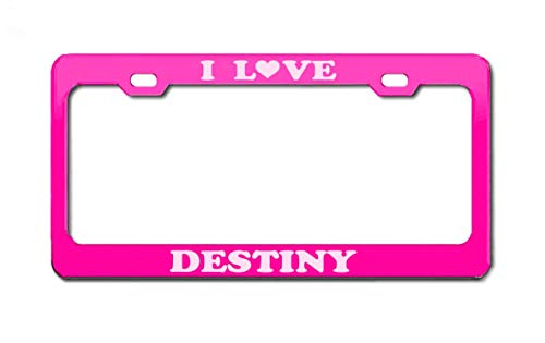 Product Express I Love Destiny Boy Girl Name Pink Engraving License Plate Frame Tag Border & Cover