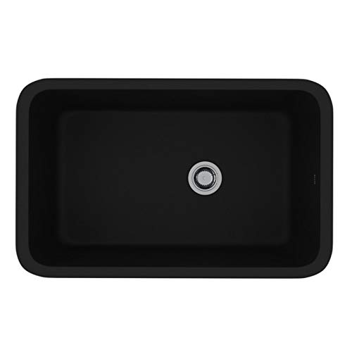 - Rohl 6307-63 FIRECLAY KITCHEN SINKS, 31-1/8-Inch by 19-5/8-Inch by 11-Inch, Matte Black