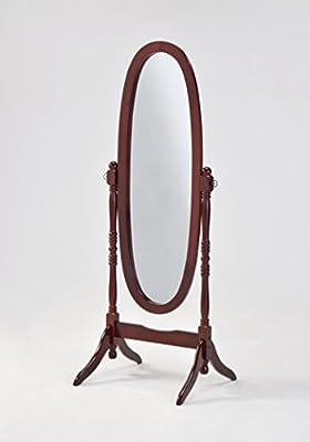 Wooden Cheval Floor Mirror, Cherry Finish