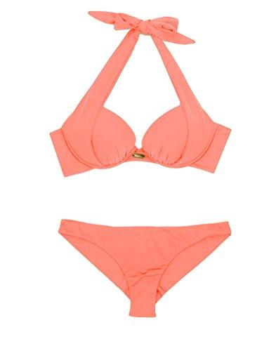 NAFLEAP Women Halter Underwired Push up Bikini, Coral Pink, (Sexy Coral)