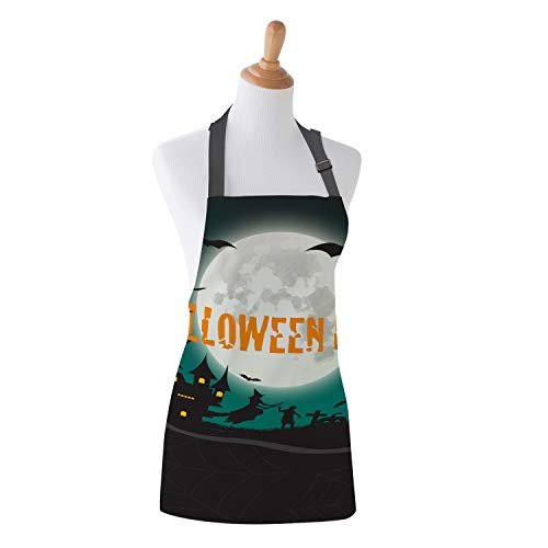 Family Decor Kids Bib Apron, Stain Resistant Kitchen, Classroom, Crafts and Art Painting Aprons for Children Boys Girls, Happy Halloween Party Moon Castle -