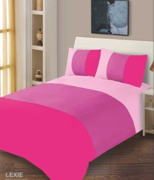 Lexie 3 Tone Pink Uk Standard Double Duvet Quilt Cover And Matching