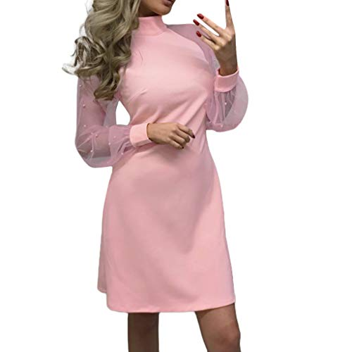 (FRana Dresses for Women Pearl Beading Turtleneck Solid Appliques Dress Long Mesh Sleeve A-Line Mini Party Dresses)