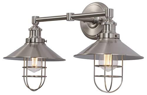 Marazzo 2 Light Bathroom Wall Sconce | Brushed Nickel Hallway Wall Light with LED Bulbs LL-WL62-1BN - Two Light Nickel Sconce