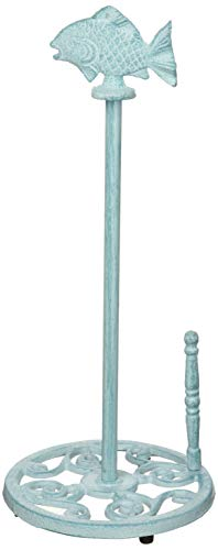 "Hampton Nautical Rustic Light Blue Paper Towel Holder 15""-Fish Beach Decor-Cast Iron"