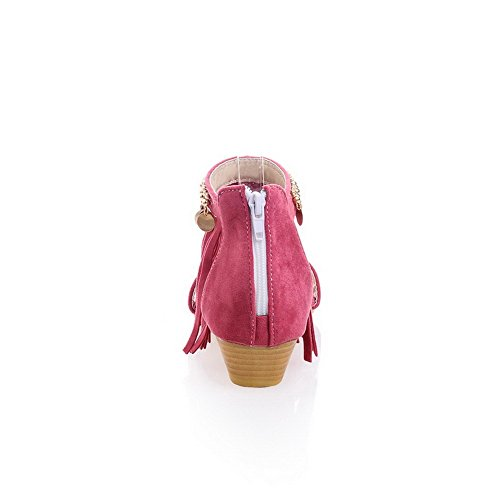 Dress Heel Open Zipper Mini Toe Woman Sandali Aalardom Pu Rosa liusu f4Xqw8Wn
